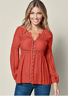 button up lace inset blouse