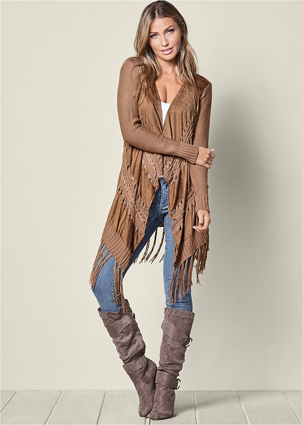 Faux Suede Fringe Cardigan,Mid Rise Color Skinny Jeans
