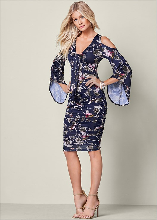 FLORAL PRINT RUCHED DRESS,HIGH HEEL STRAPPY SANDAL