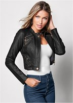 faux leather lace up jacket