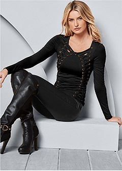 side lace up top