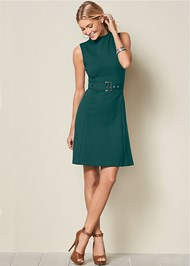 Front View Buckle Detail Swing Dress
