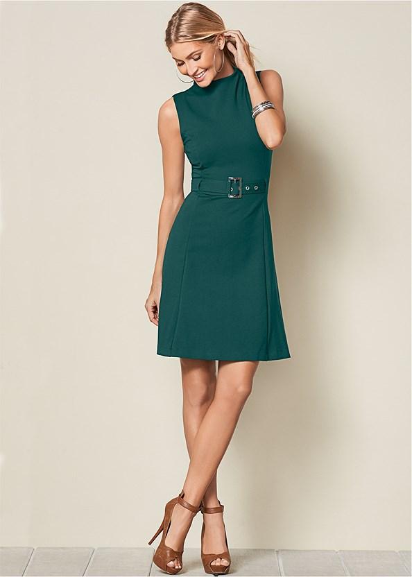Buckle Detail Swing Dress