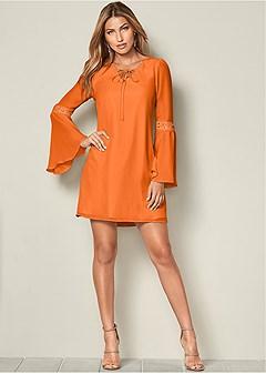 f7226aa43b Burnt Orange LACE UP DETAIL DRESS from VENUS