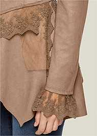 Alternate View Faux Suede And Lace Jacket