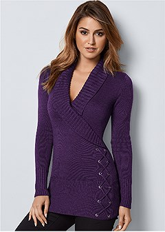 side lace up sweater