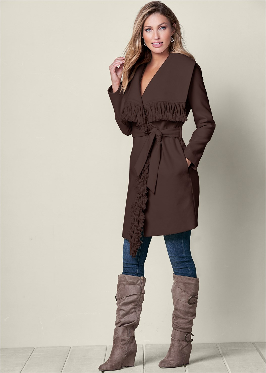 Fringe Detail Outerwear,Mid Rise Color Skinny Jeans