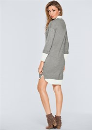 Back View Collar Sweater Twofer Dress