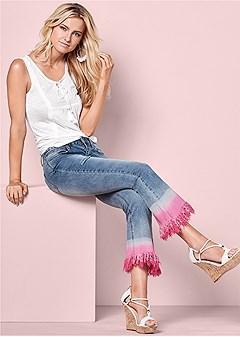 tie dye fringe jeans