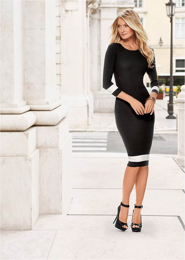 Color Block Sweater Dress,Push Up Bra,Slouchy Mid-Calf Boot
