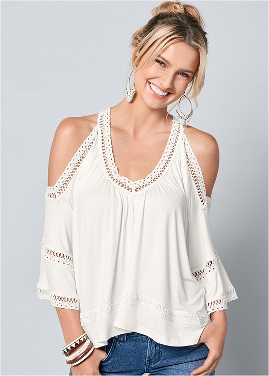 COLD SHOULDER LACE TRIM TOP,ESPADRILLE PLATFORM WEDGES