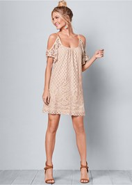 Front View Cold Shoulder Lace Dress