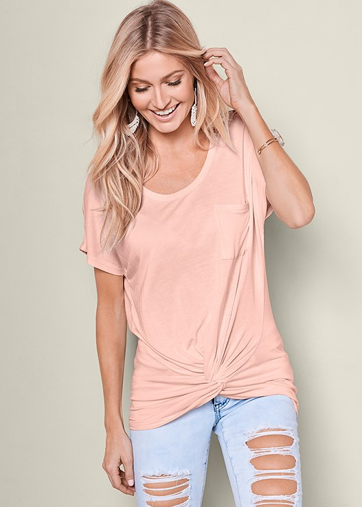 TWISTED KNOT DETAIL TEE,RIPPED JEANS,NATURAL BEAUTY SEAMLESS BRA