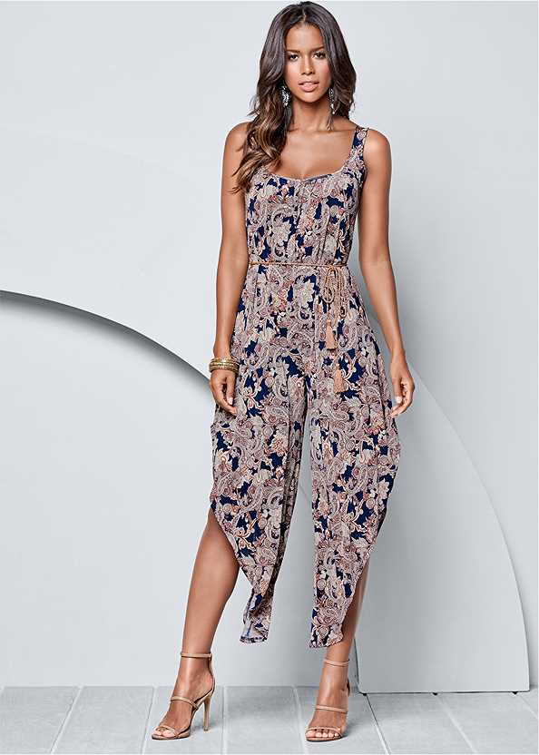 Belted Paisley Jumpsuit,High Heel Strappy Sandals