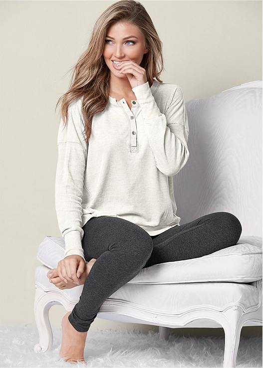 THERMAL HENLEY LOUNGE TOP