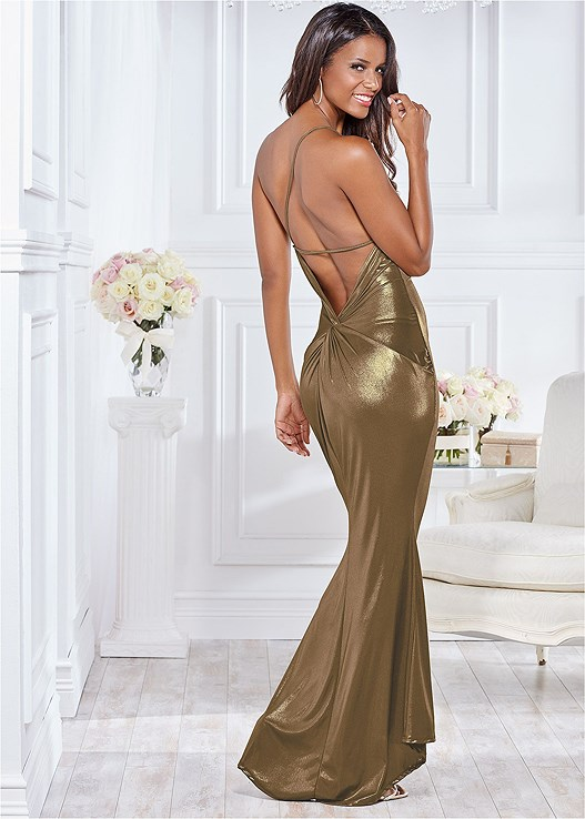 BACK DETAIL FORMAL DRESS,HIGH HEEL STRAPPY SANDAL