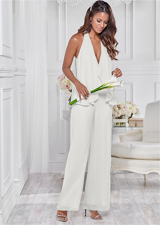 CHIFFON JUMPSUIT,HIGH HEEL STRAPPY SANDALS