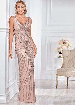 v neck embellished gown