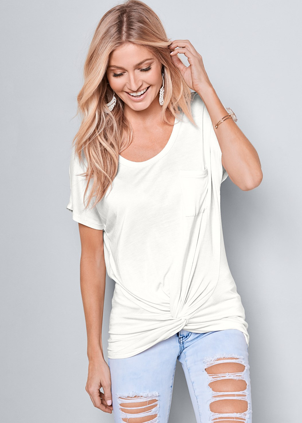 Twisted Knot Detail Tee,Mid Rise Color Skinny Jeans,Long Jean Shorts,Lucite Detail Print Heels,Beaded Fringe Earrings