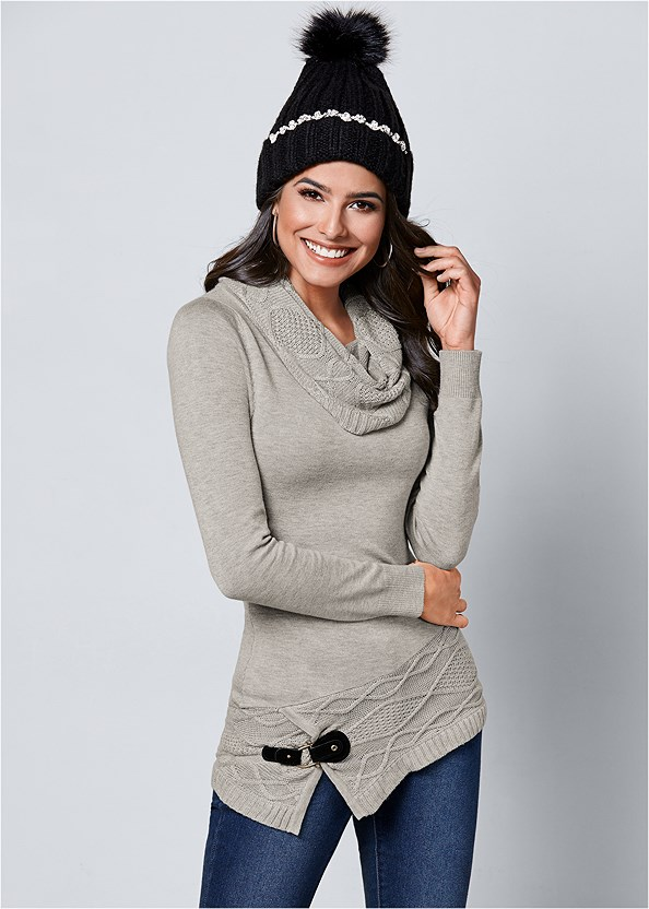 Buckle Detail Cowl Sweater,Mid Rise Color Skinny Jeans,Chunky Ribbed Beanie,Stud Detail Crossbody