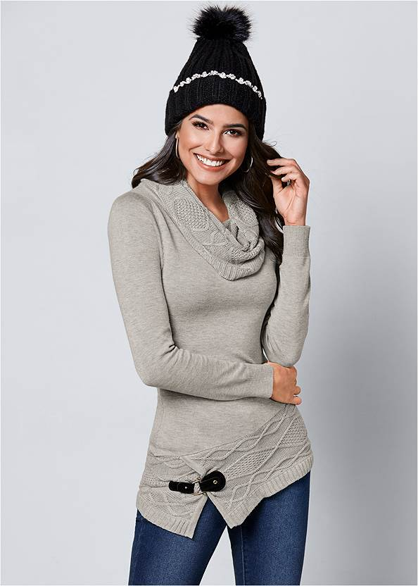 Buckle Detail Cowl Sweater,Mid Rise Color Skinny Jeans