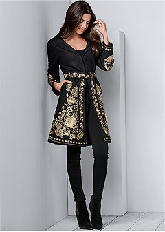 belted embroidered coat