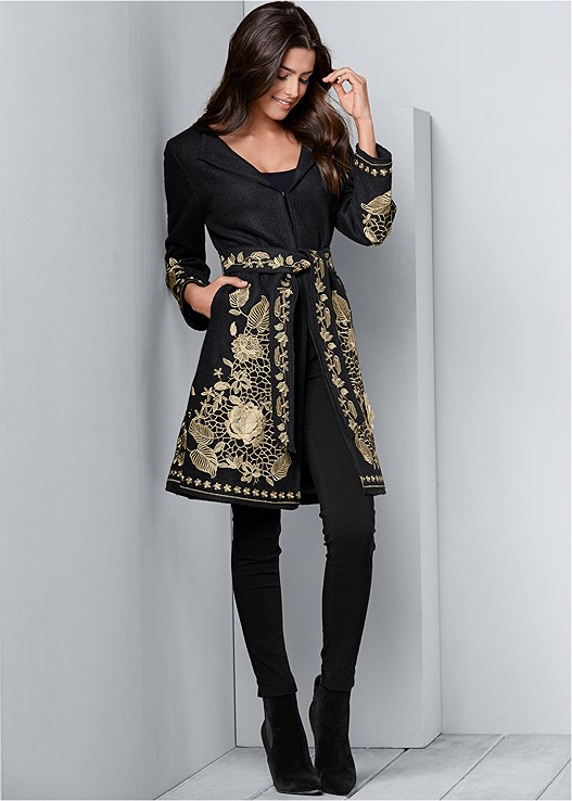 BELTED EMBROIDERED COAT,SEAMLESS CAMI,RUCHED TANK DRESS,SLIMMING STRETCH JEGGINGS,VELVET BUCKLE HEEL,FAUX SUEDE POINTY BOOTIES