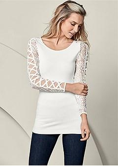 lace crisscross sleeve top