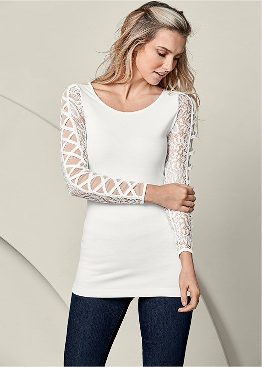 LACE CRISSCROSS SLEEVE TOP