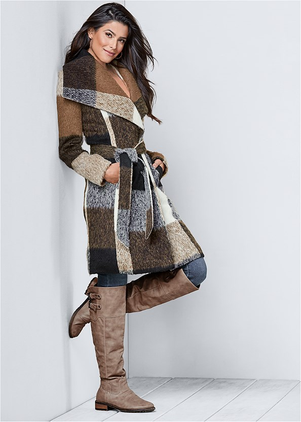 Belted Plaid Coat,Mid Rise Color Skinny Jeans,Buckle Knee High Boots,Stud Detail Crossbody,Stud Detail Scarf