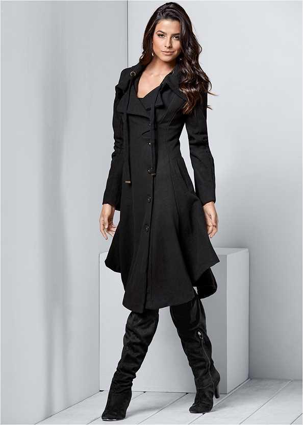 Handkerchief Hem Coat,Basic Cami Two Pack,Basic Leggings,Fold Over Boot,Stud Detail Crossbody