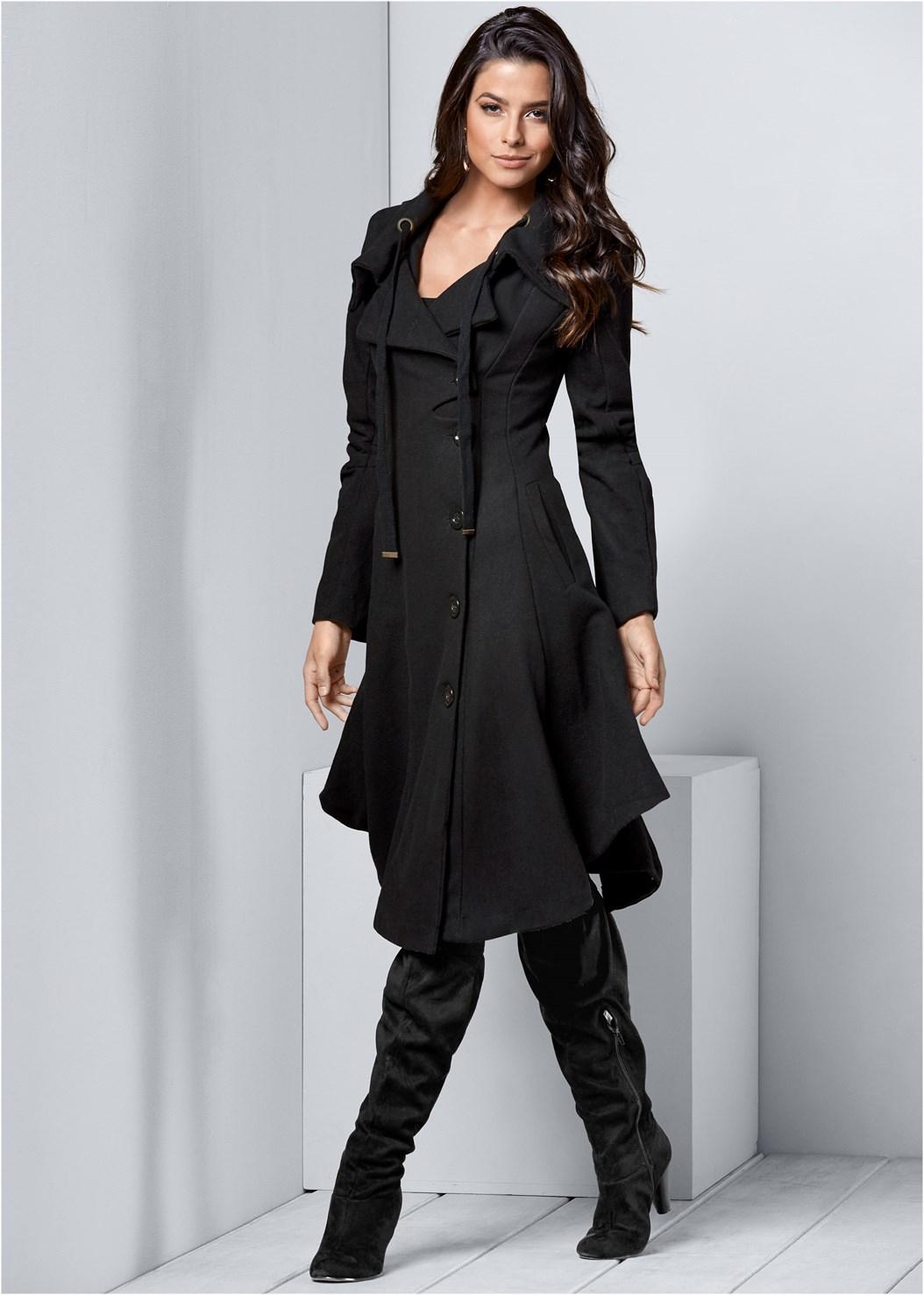 Handkerchief Hem Coat,Seamless Cami,Basic Leggings,Fold Over Boot,Print Detail Handbag