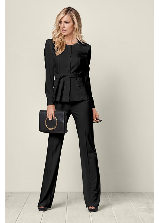 BELTED PANT SUIT SET,BUCKLE DETAIL STRAPPY HEELS