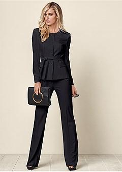 belted pant suit set