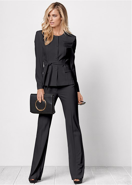 BELTED PANT SUIT SET,BUCKLE DETAIL STRAPPY HEEL,BEADED DROP EARRINGS,STEVE MADDEN STUDDED TOTE