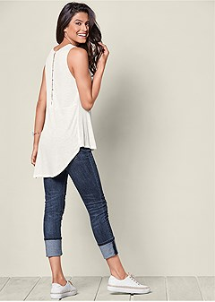 button back ribbed top