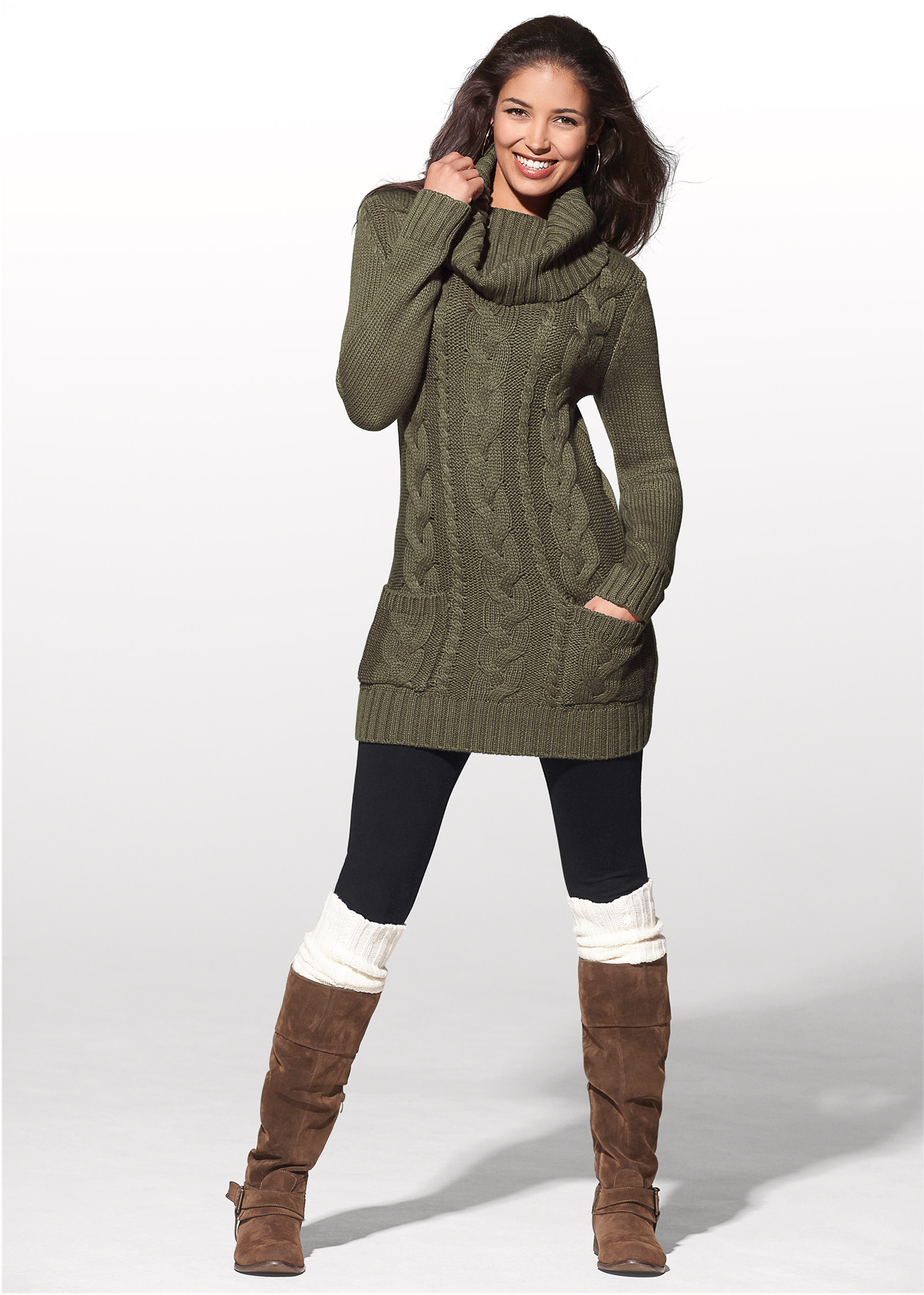 With Boots Sweater Dresses for Women