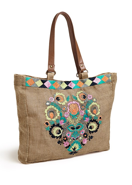 EMBROIDERY DETAIL TOTE,MINI DRESS WITH BELT,LACE UP GLADIATOR SANDALS