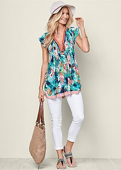printed pleated front top