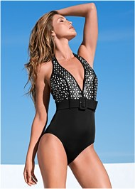 Front view Belted Halter One-Piece