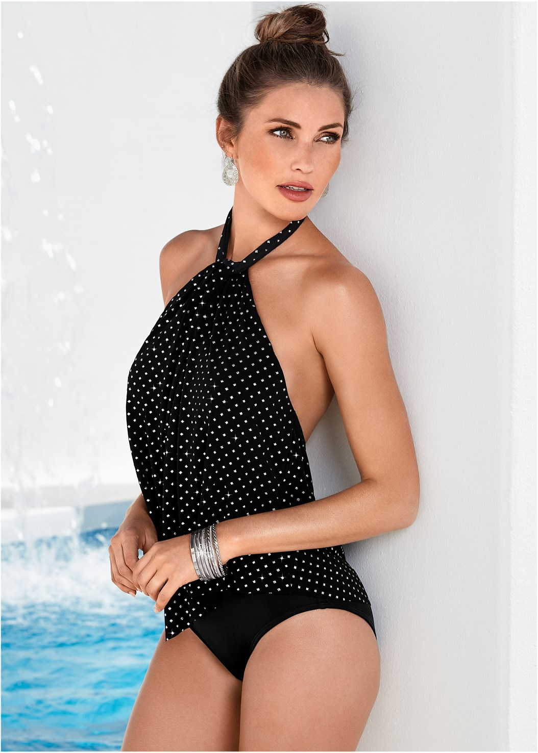 High Neck Flounce One-Piece,Lace Up Crochet Cover-Up