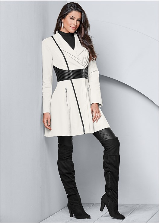 FAUX LEATHER DETAIL JACKET,FAUX LEATHER LEGGINGS,OVER THE KNEE BOOTS