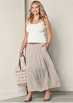 plus size pocket detail maxi skirt