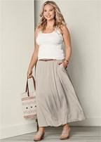 plus size pocket detail maxi skirt
