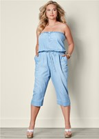 plus size chambray jumpsuit