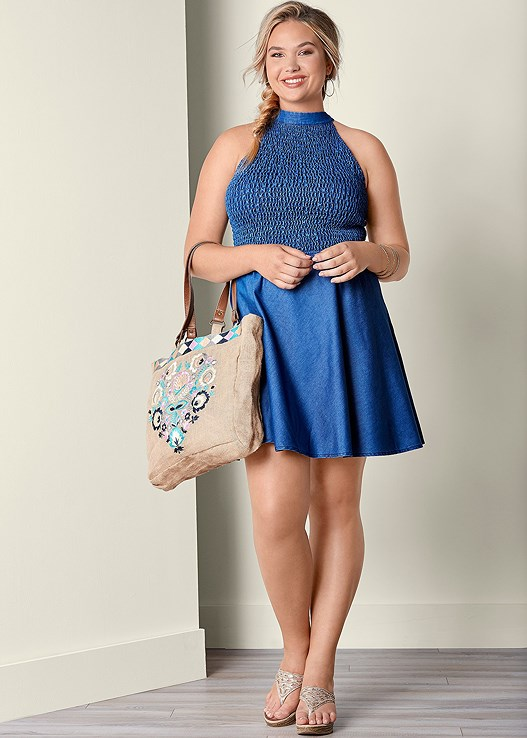 SMOCKED TOP DRESS,EMBELLISHED WEDGES,ETCHED METAL UPPER ARM BAND,EMBROIDERY DETAIL TOTE