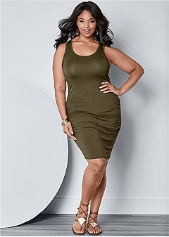 plus size ruched tank dress