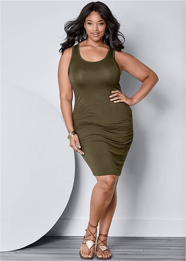 Front View Sleeveless Ruched Bodycon Midi Dress