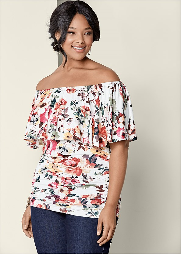 Ruched Off The Shoulder Top,Mid Rise Slimming Stretch Jeggings