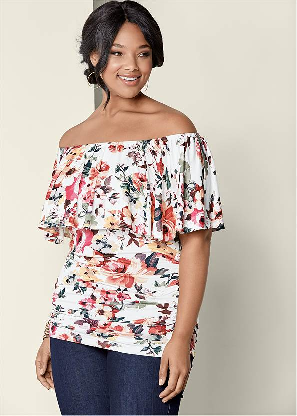 Ruched Off-The-Shoulder Top,Mid Rise Slimming Stretch Jeggings